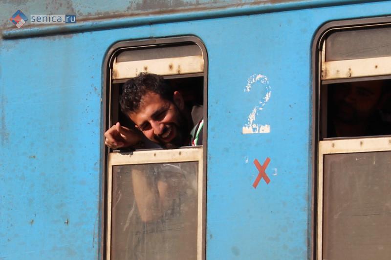 Мигрант в поезде на станции Прешево в Сербии