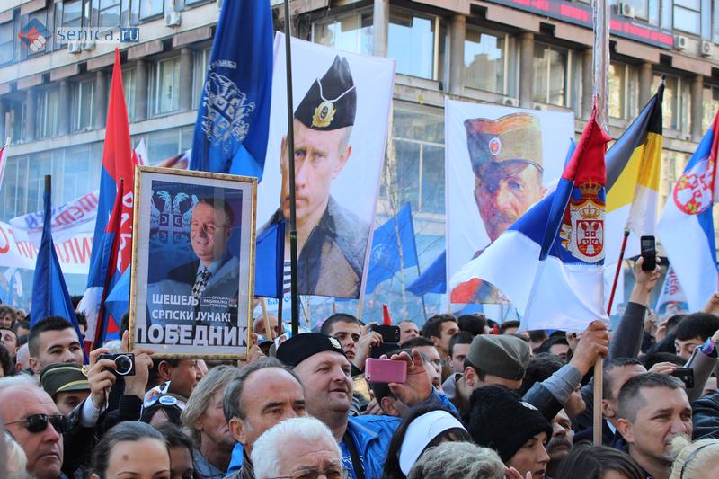 Портрет Путина на митинге Сербской радикальной партии в Белграде