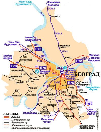 Транспортная схема Белграда